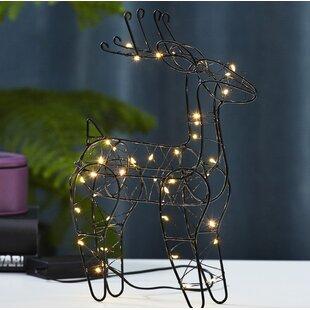 Free S&H 40-Light Black LED Reindeer Lamp