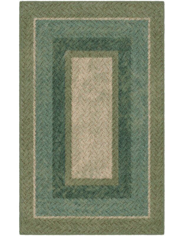 Winston Porter Cassian Braided Printed Green Area Rug, Size: Rectangle 76 x 10