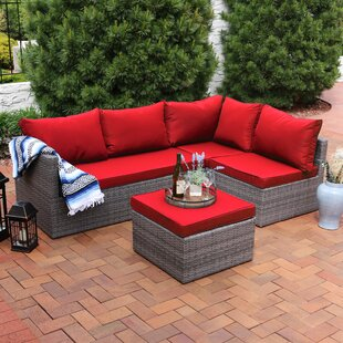 Stahl 4 Piece Rattan Sectional Seating Group with Cushions