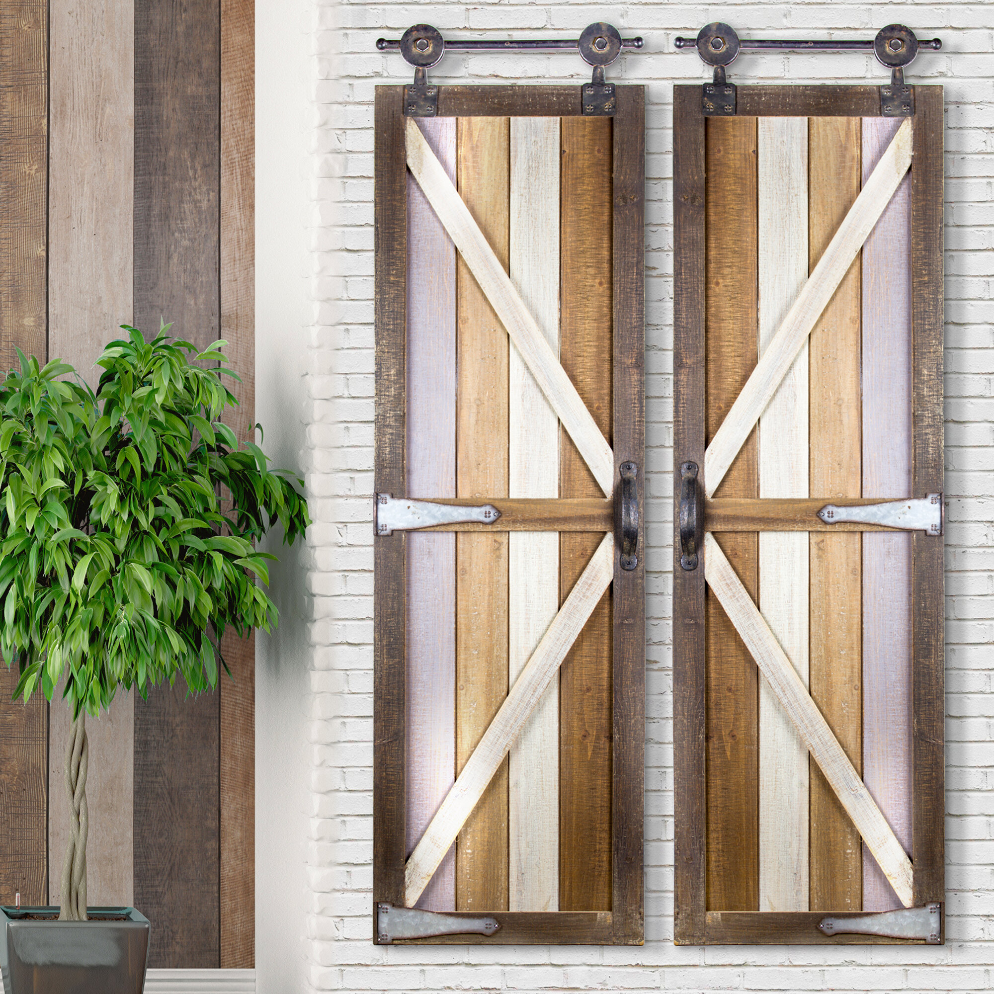 Gracie Oaks Barnyard Doors Wood Metal Hanging Wall Décor \u0026 Reviews | Wayfair & Gracie Oaks Barnyard Doors Wood Metal Hanging Wall Décor \u0026 Reviews ...