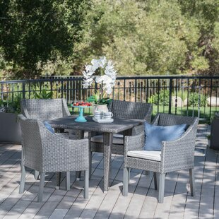 Sudie Outdoor Wicker Square 5 Piece Dinin..