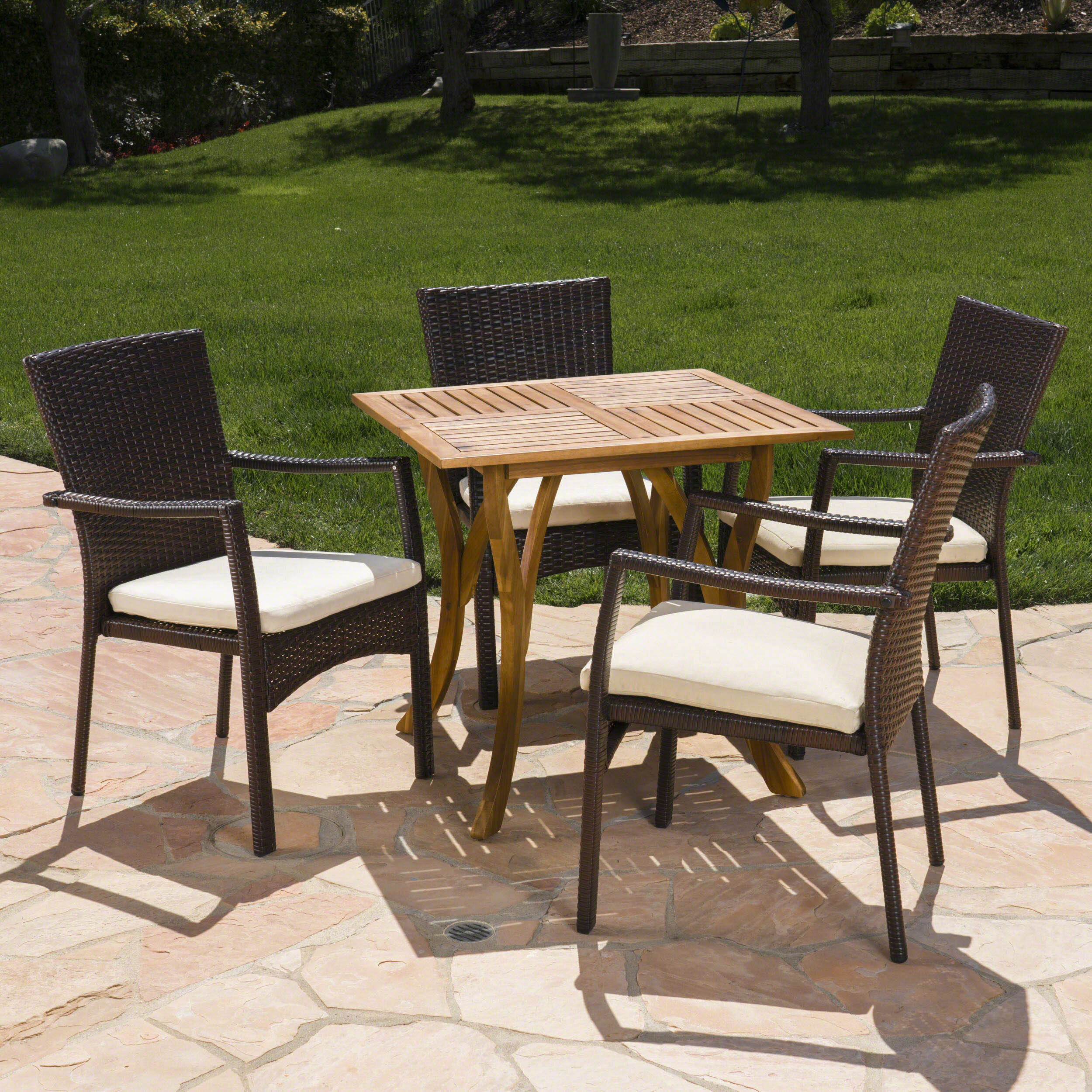 Awe Inspiring Hennings Outdoor Acacia Wood Wicker 5 Piece Dining Set With Cushions Lamtechconsult Wood Chair Design Ideas Lamtechconsultcom