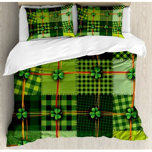 Irish Patchwork Style St. Patrick's Day Themed Celtic Quilt Cultural Checkered with Clovers Duvet Cover Set