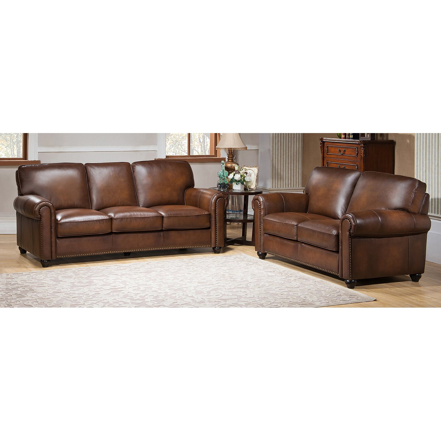Amax aspen leather sofa and loveseat set reviews wayfair for Leather sofa and loveseat set