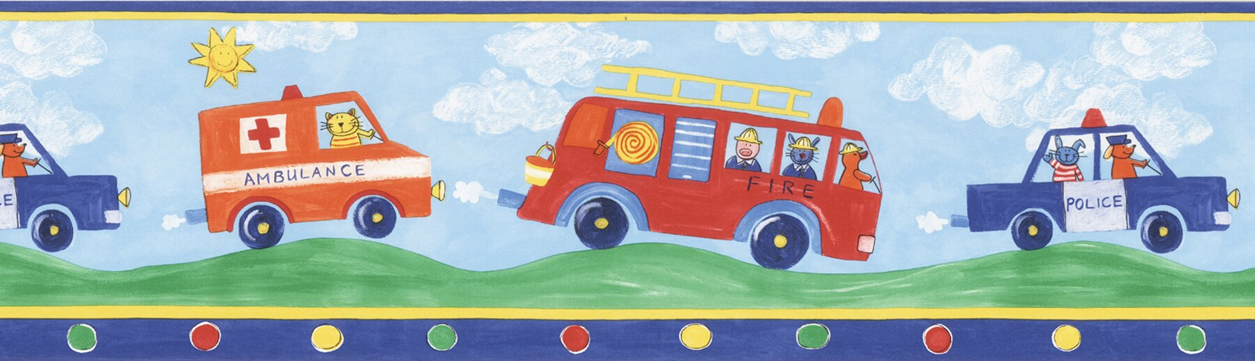 Brewster Home Fashions Kids World Fire Engines Fire Truck 33' x ...