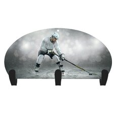 Hockey Player 3 Hook Coat Rack by Next Innovations