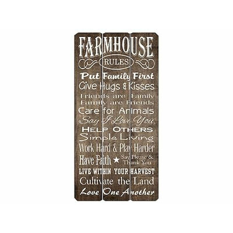 Gracie Oaks Farmhouse Rules Wooden Sign Wall Decor Reviews
