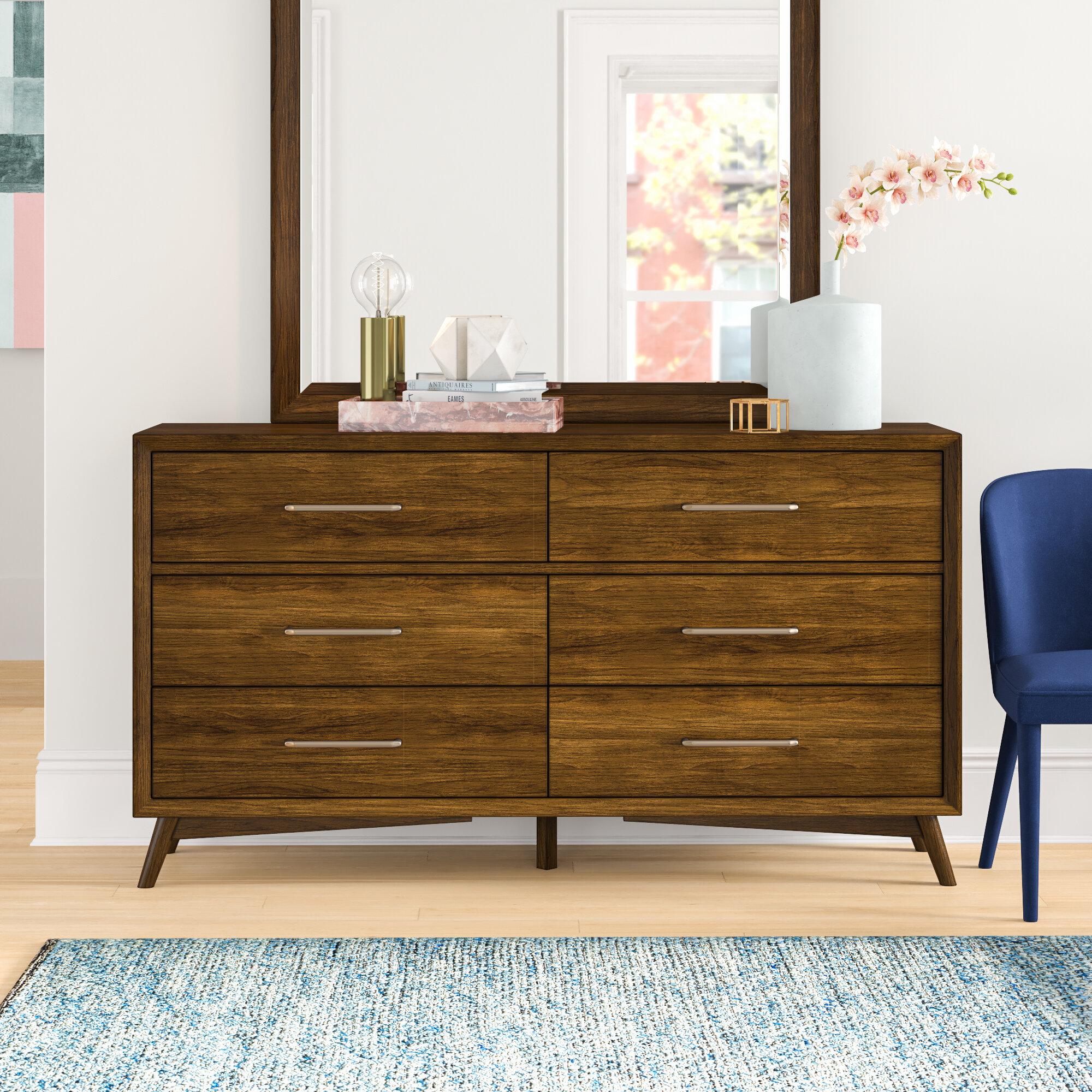 Foundstone Alleya 6 Drawer Double Dresser With Mirror Reviews Wayfair