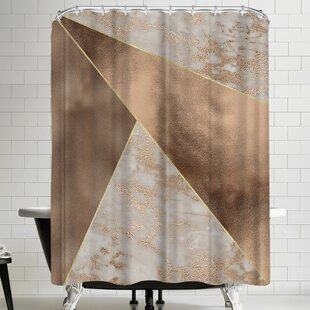 Best Price Grab My Art Trendy Rose Gold Marble Copper Triangle Shower Curtain By East Urban Home