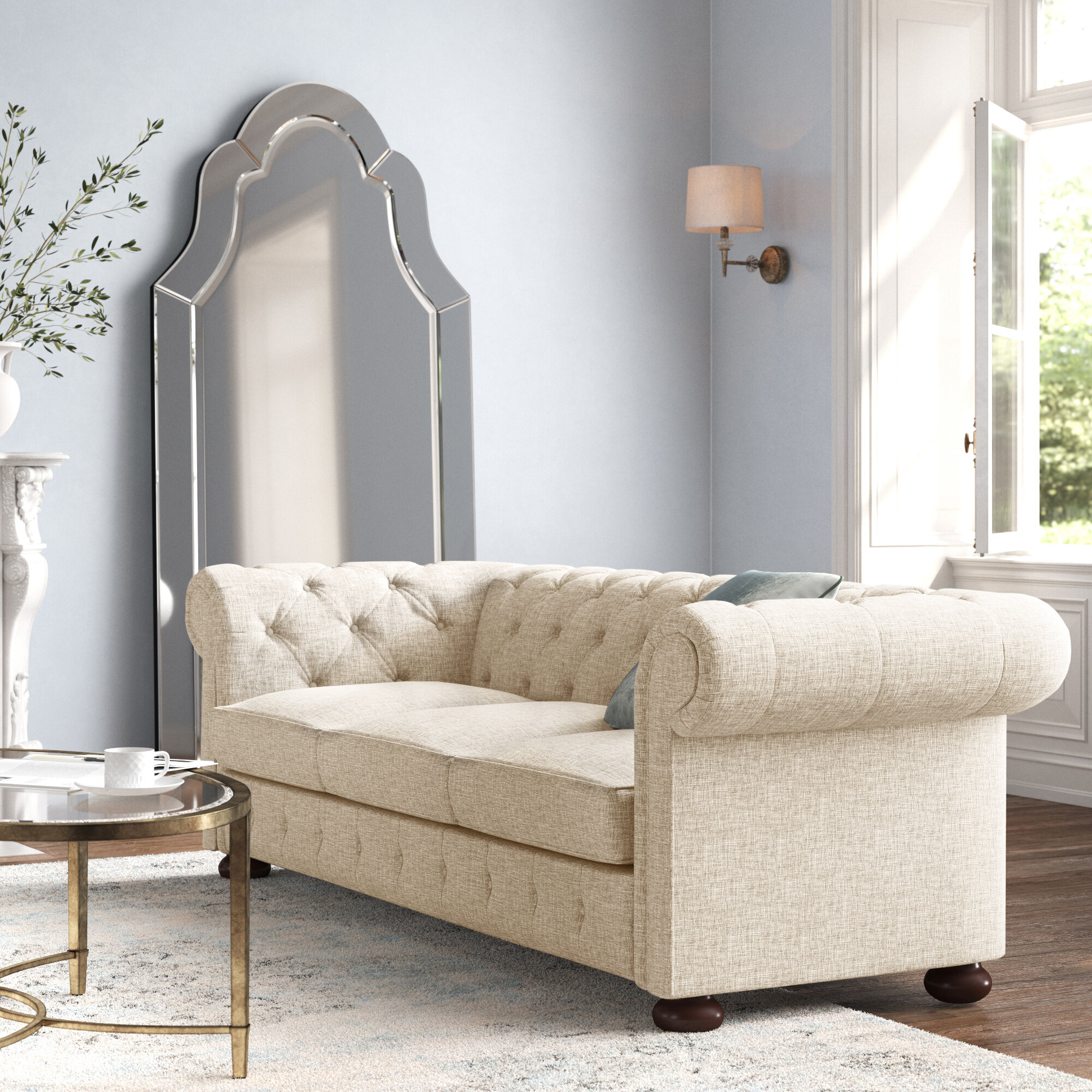 Kelly Clarkson Home Austin Chesterfield 91 34 Round Arm Sofa Reviews