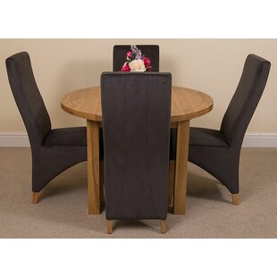 Soejima Solid Oak Dining Set With 4 Lola Chairs By Rosalind Wheeler