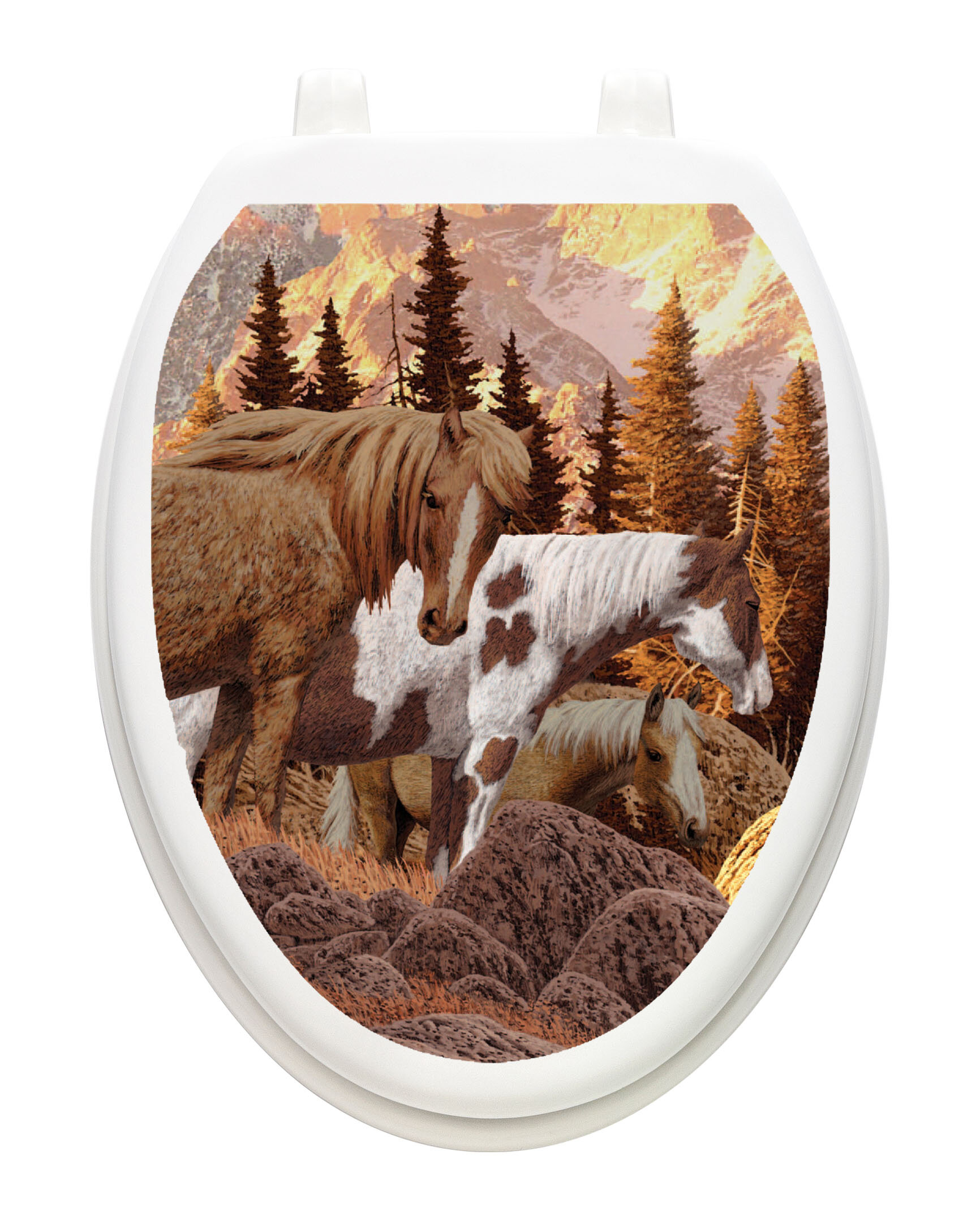 Toilet Tattoos Toilet Lid Cover  Decor Painted Horse Reusable  Vinyl