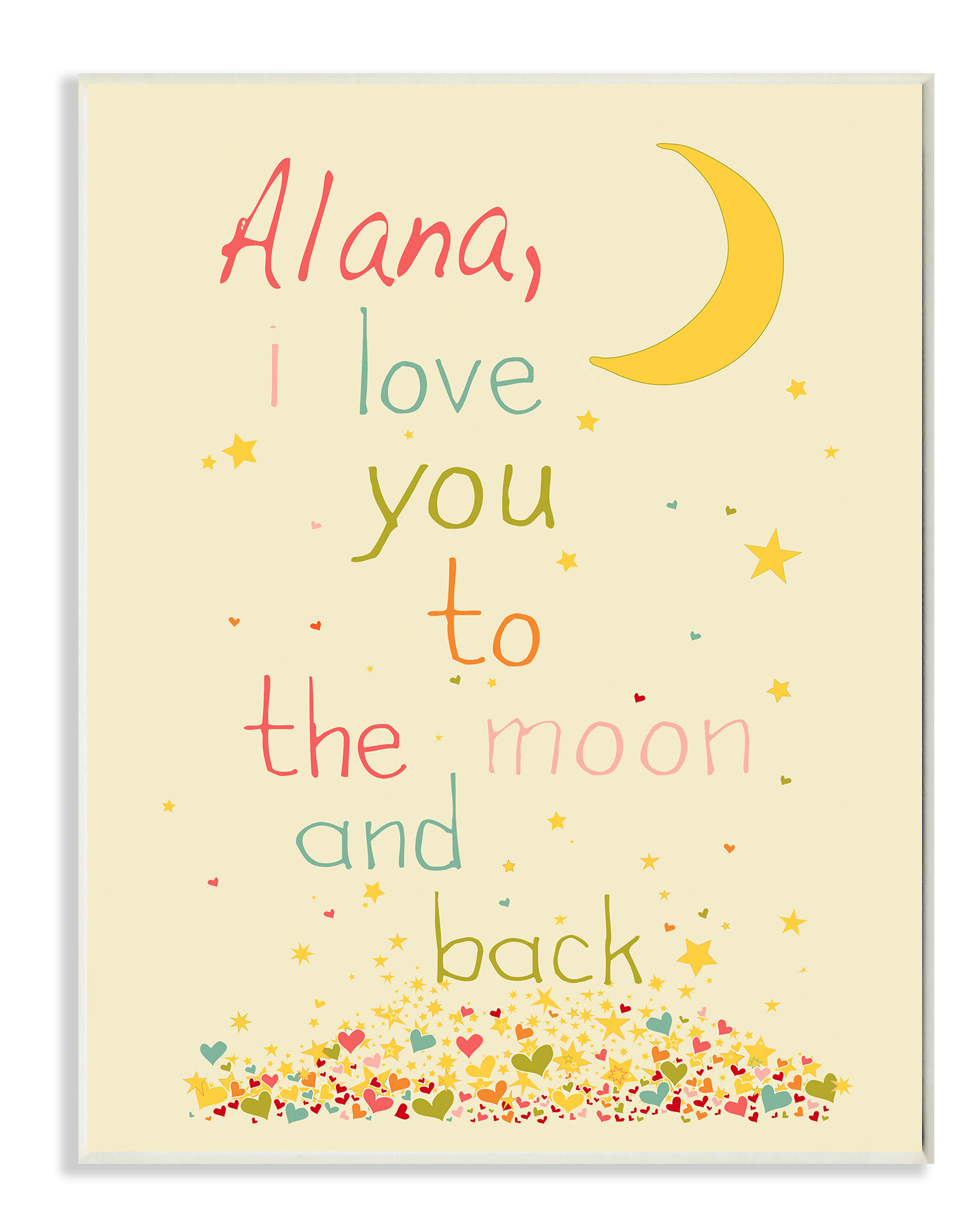Stupell Industries Personalized I Love You to the Moon and Back Wall ...