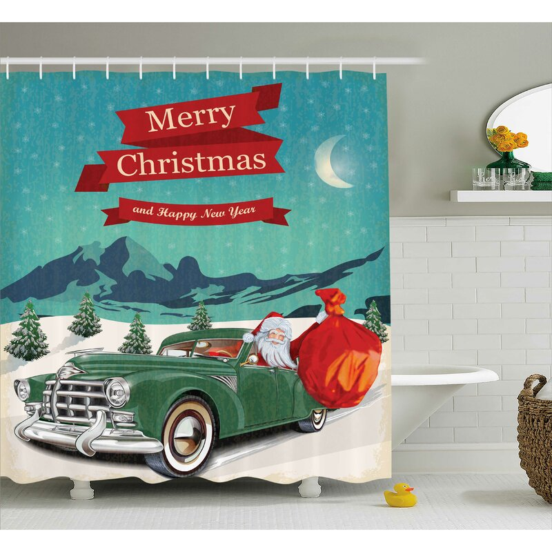 Christmas Santa In Classic Car Shower Curtain