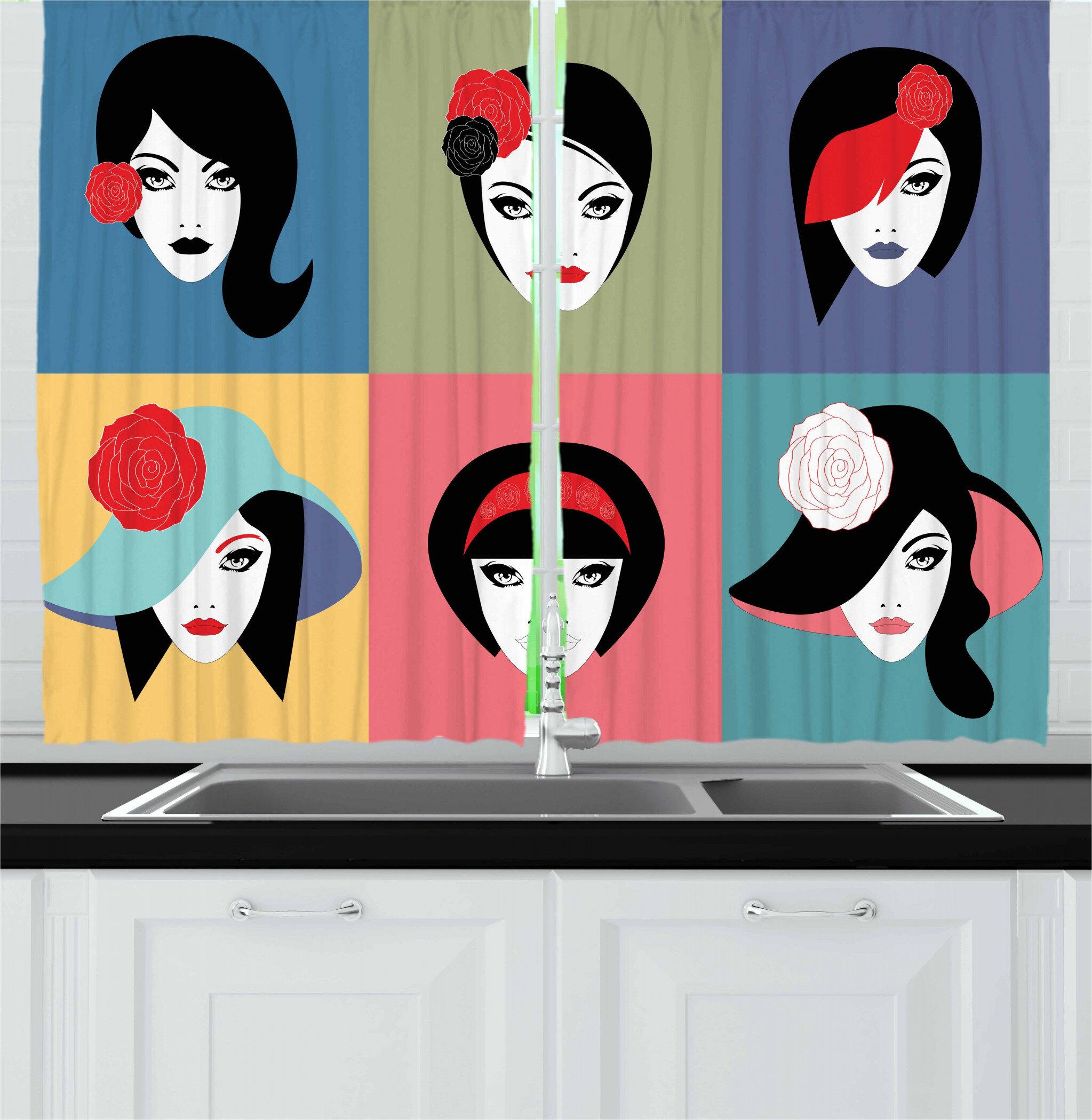 East Urban Home Woman 2 Piece Kitchen Curtain Set Wayfair