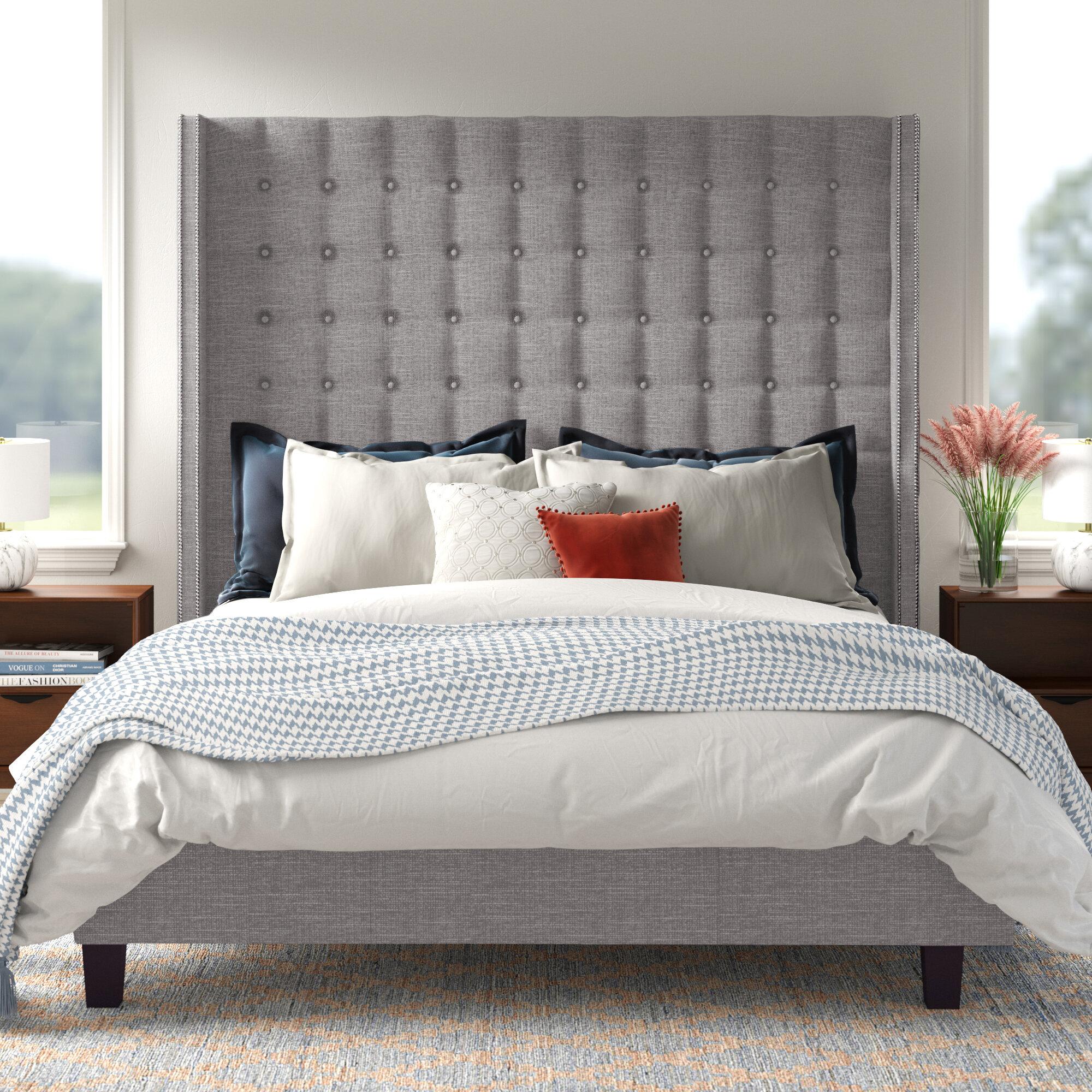 Isolde Grid Tufted Wingback Upholstered Platform Bed Reviews