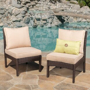 Dia Outdoor Wicker Armless Sectional Sofa Seat with Cushions (Set of 2)