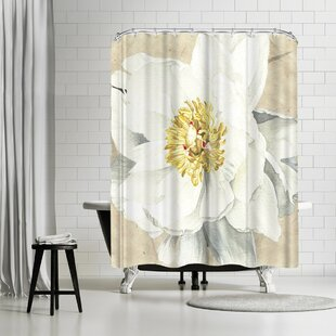 Elizabeth Hellman White Peony Single Shower Curtain