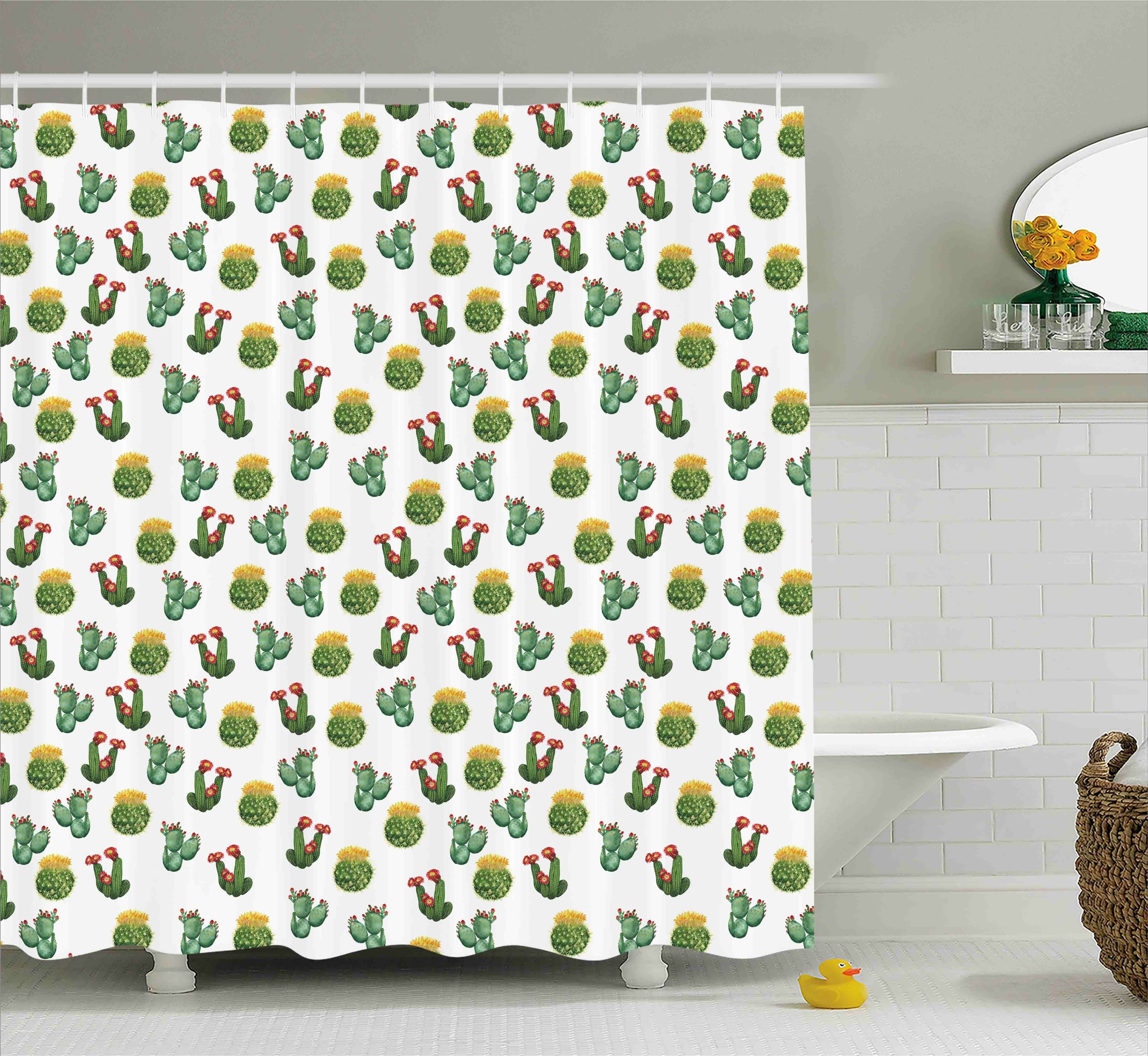 Courtlyn Cactus And Suculent Print Shower Curtain Hooks