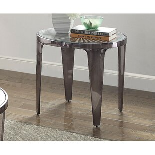 Manhattan Sunburst Pattern Glass Top Metal Tapered Legs End Table