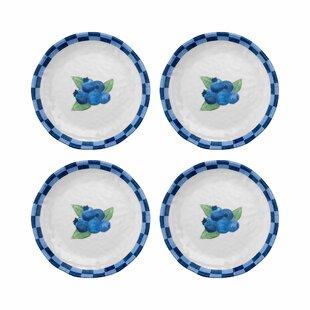 Mohammed Blueberry Melamine Salad or Dessert Plate (Set of 4)