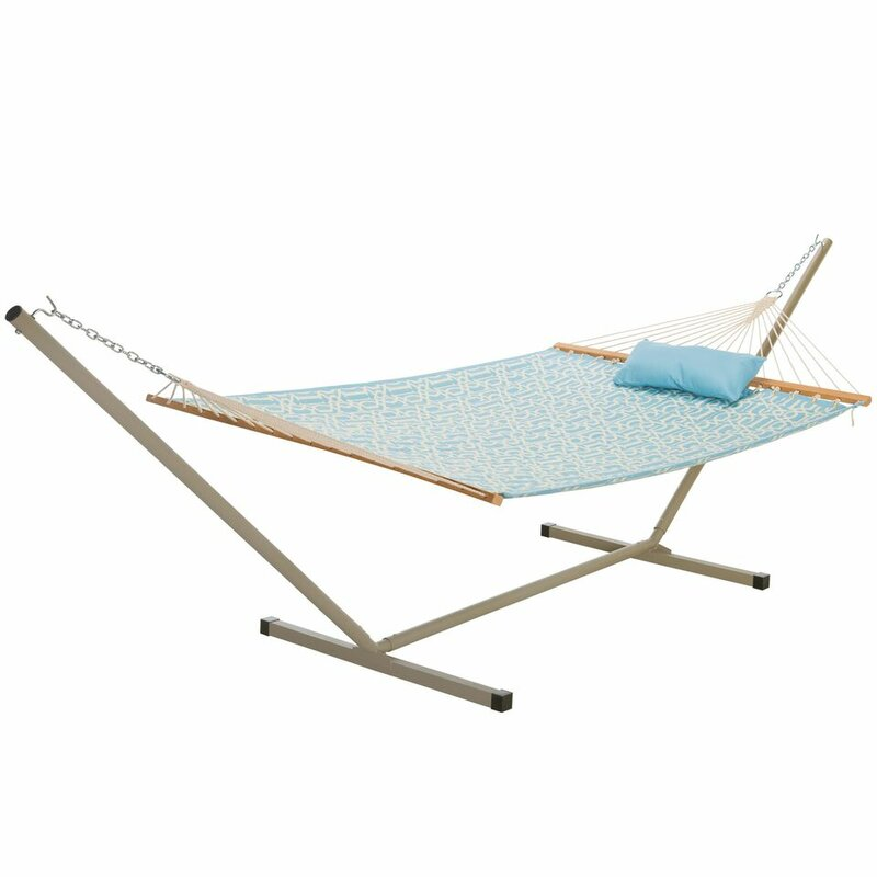 Sol 72 Outdoor  Amaryllis Quilted Tree Hammock with Stand Color: Light Blue