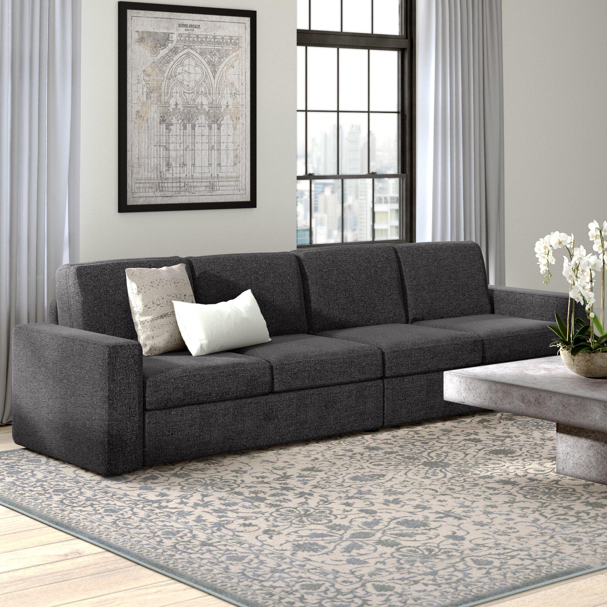 Greyleigh Gosnell Linen Modular 120 Square Arms Sofa Reviews Wayfair