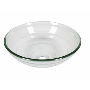 Frosted Tempered Glass Circular Vessel Bathroom Sink