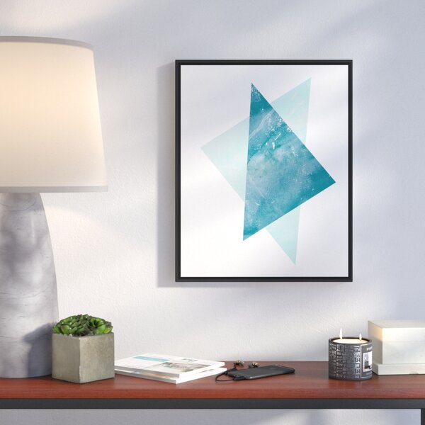 Blue Abstract Triangles Framed Acrylic Painting Print On Canvas