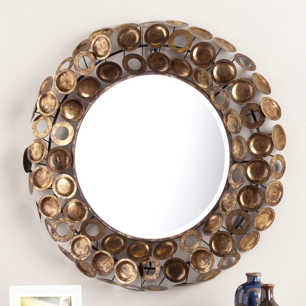 Laude Run Round Galvanized Burnished Gold And Copper Decorative Wall Mirror Reviews Wayfair