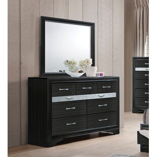 Jules 9 Drawer Double Dresser with Mirror