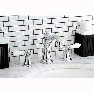 American Patriot Double Handle Widespread Bathroom Faucet With ABS Pop Up  Drain