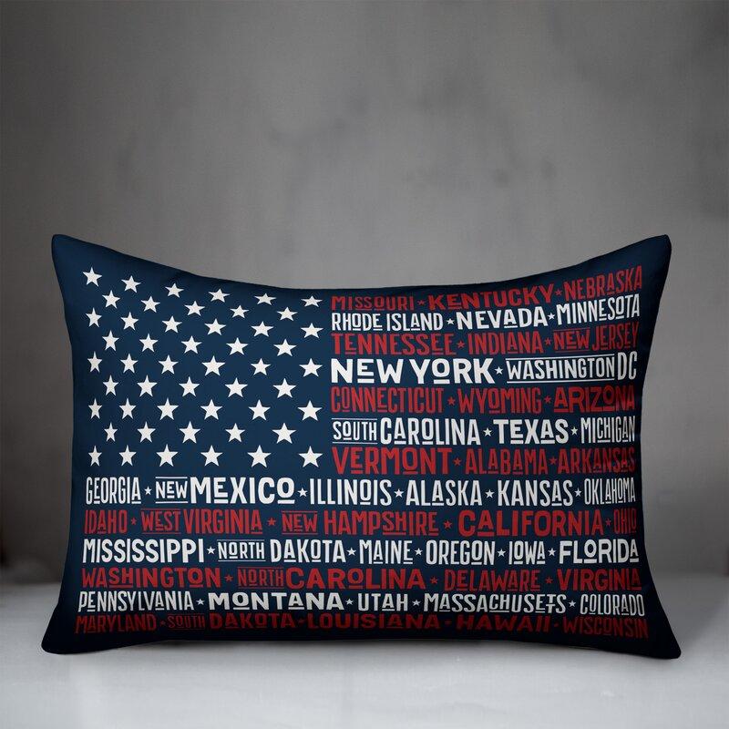 August Grove Tappahannock States Flag Indoor Outdoor Lumbar Pillow Cover Wayfair