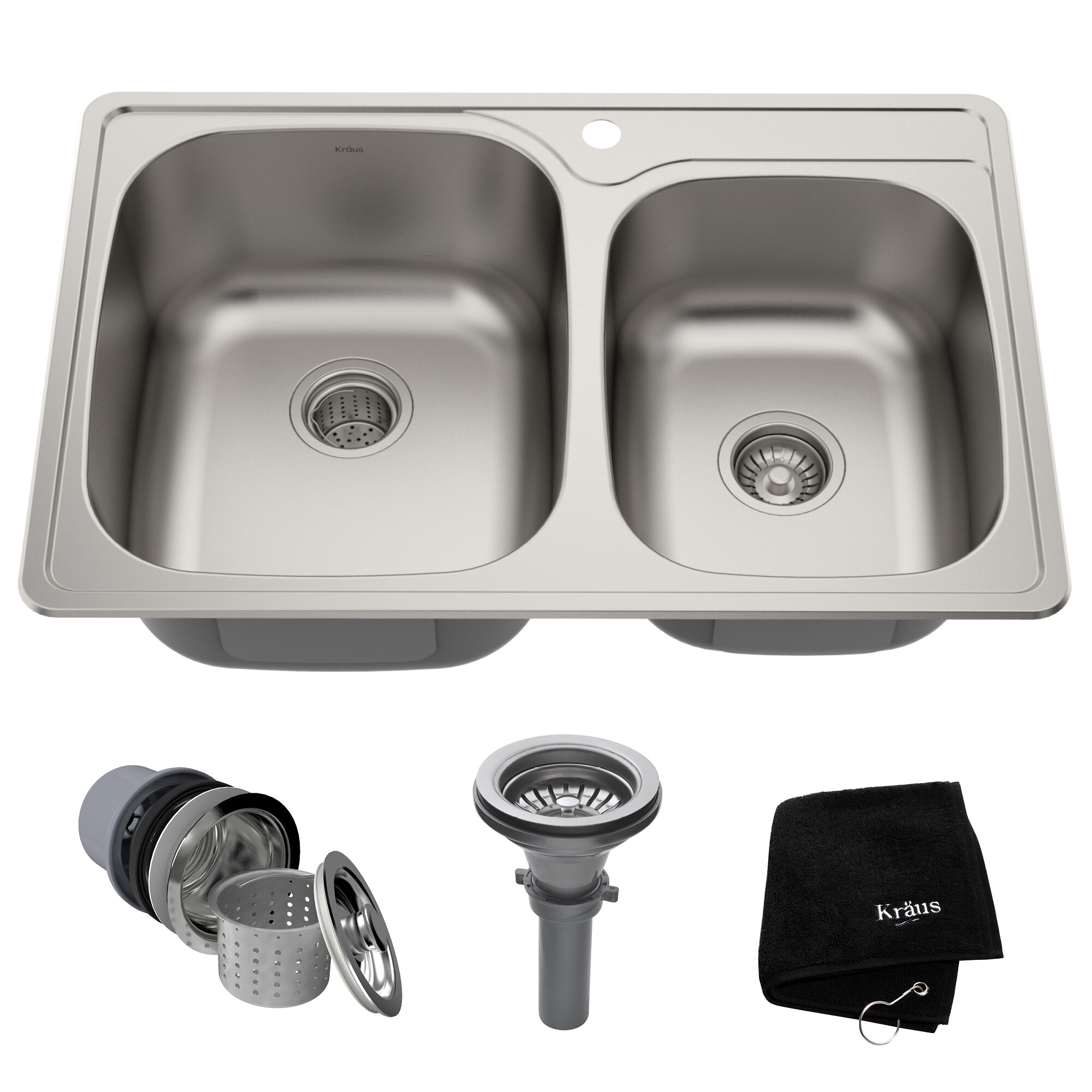 Superb Stainless Steel 33 L X 22 W Double Basin Drop In Kitchen Sink Complete Home Design Collection Lindsey Bellcom