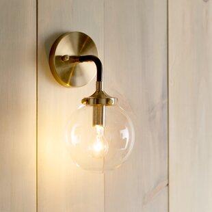 globe wall sconce gold monaca 1light wall sconce glass globe wayfair