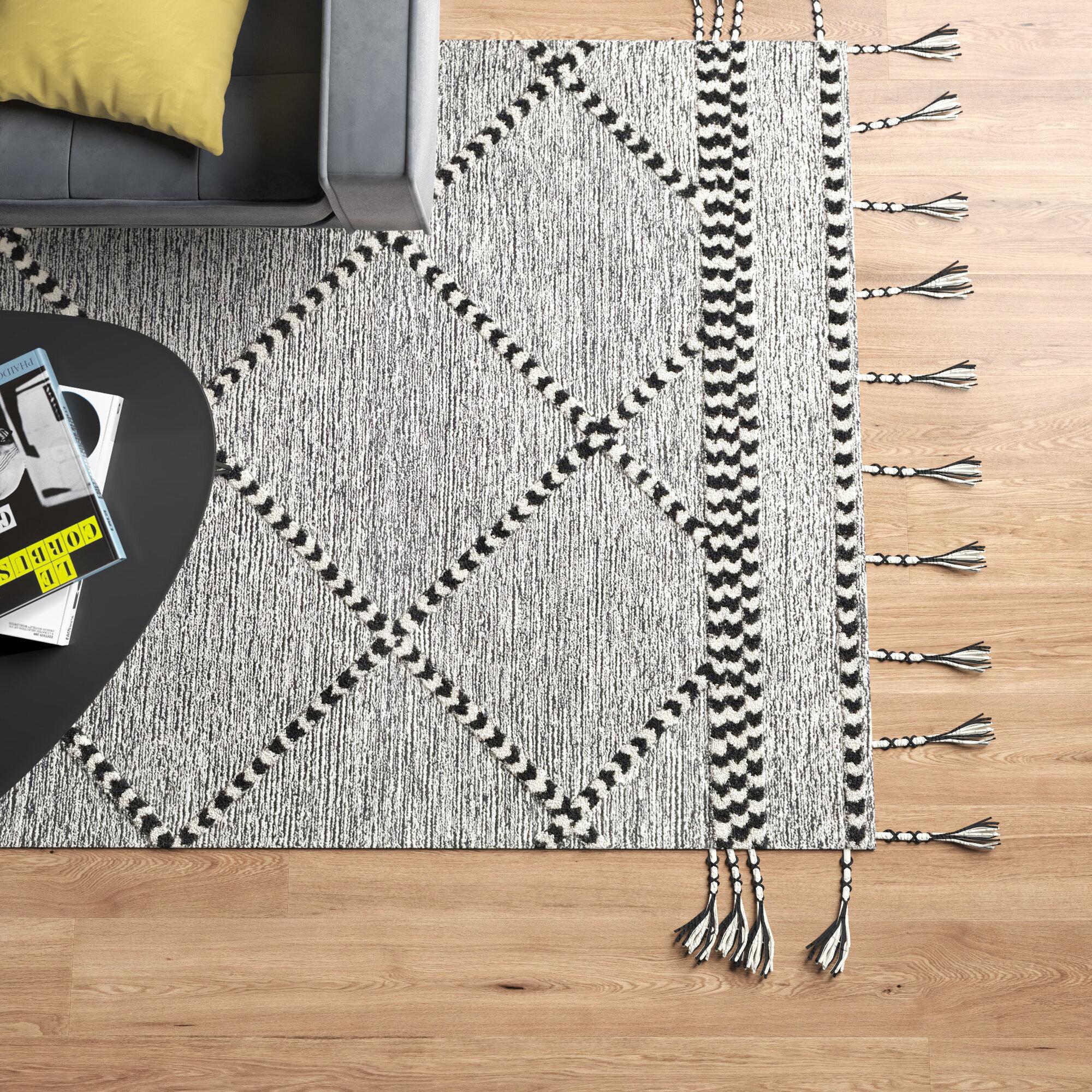 Dade Geometric Handmade Tufted Wool Black Cream Area Rug Reviews Allmodern