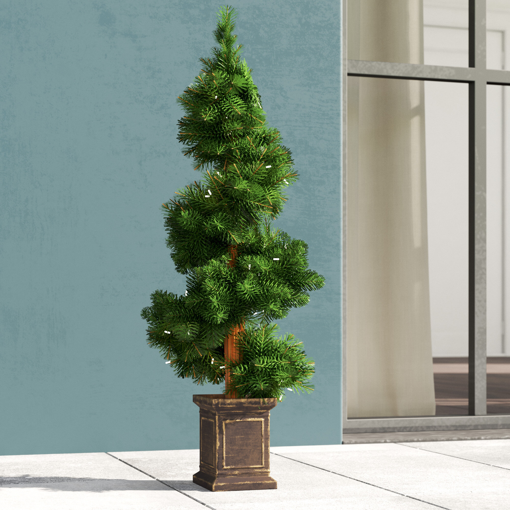 Greyleigh Potted Spiral Tree 34 Artificial Boxwood Floor Topiary In Urn Reviews Wayfair