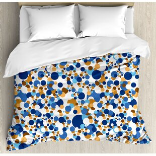 East Urban Home Confetti Abstract Circle Round in Color Bubble Retro Celebration Design Duvet Set