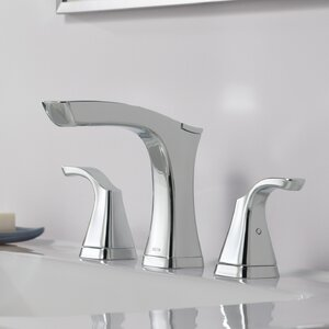 Teslau00ae Widespread Double Handle Bathroom Faucet with Drain Assembly and Diamond Seal Technology