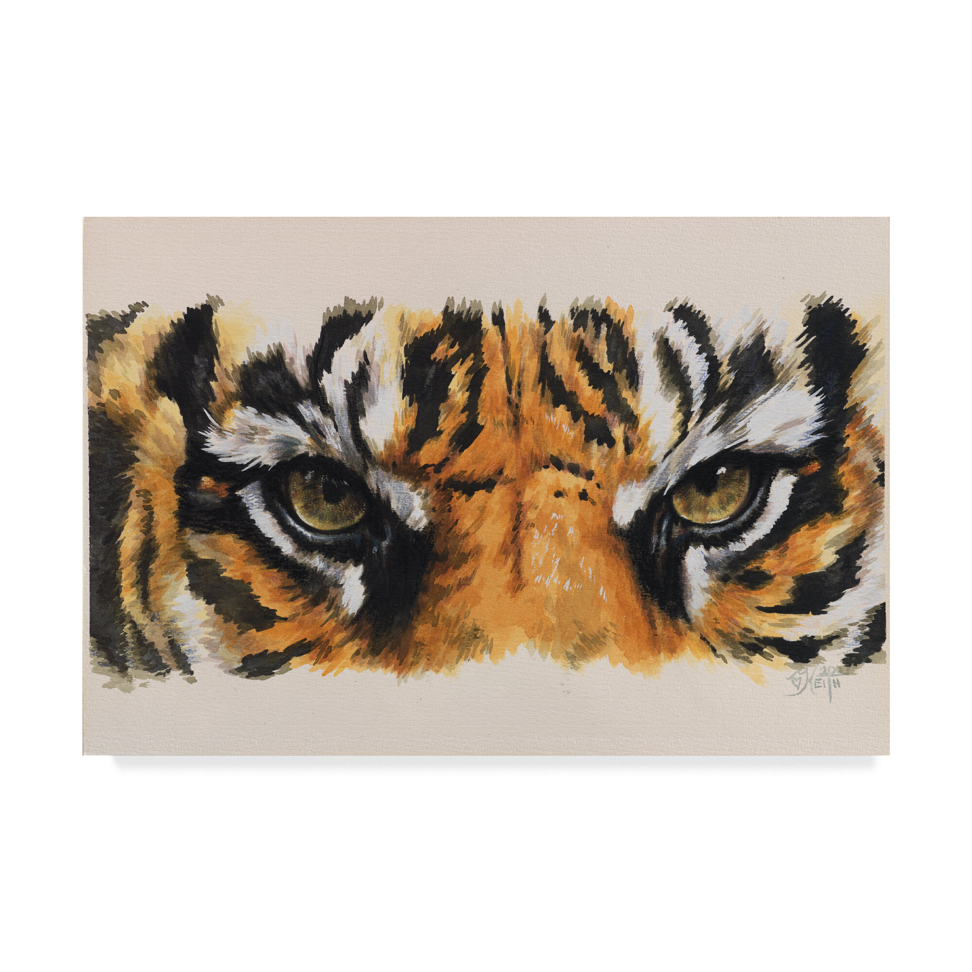 Mini Tiger Oil Painting on 1.5 by 1.5 inch Wood