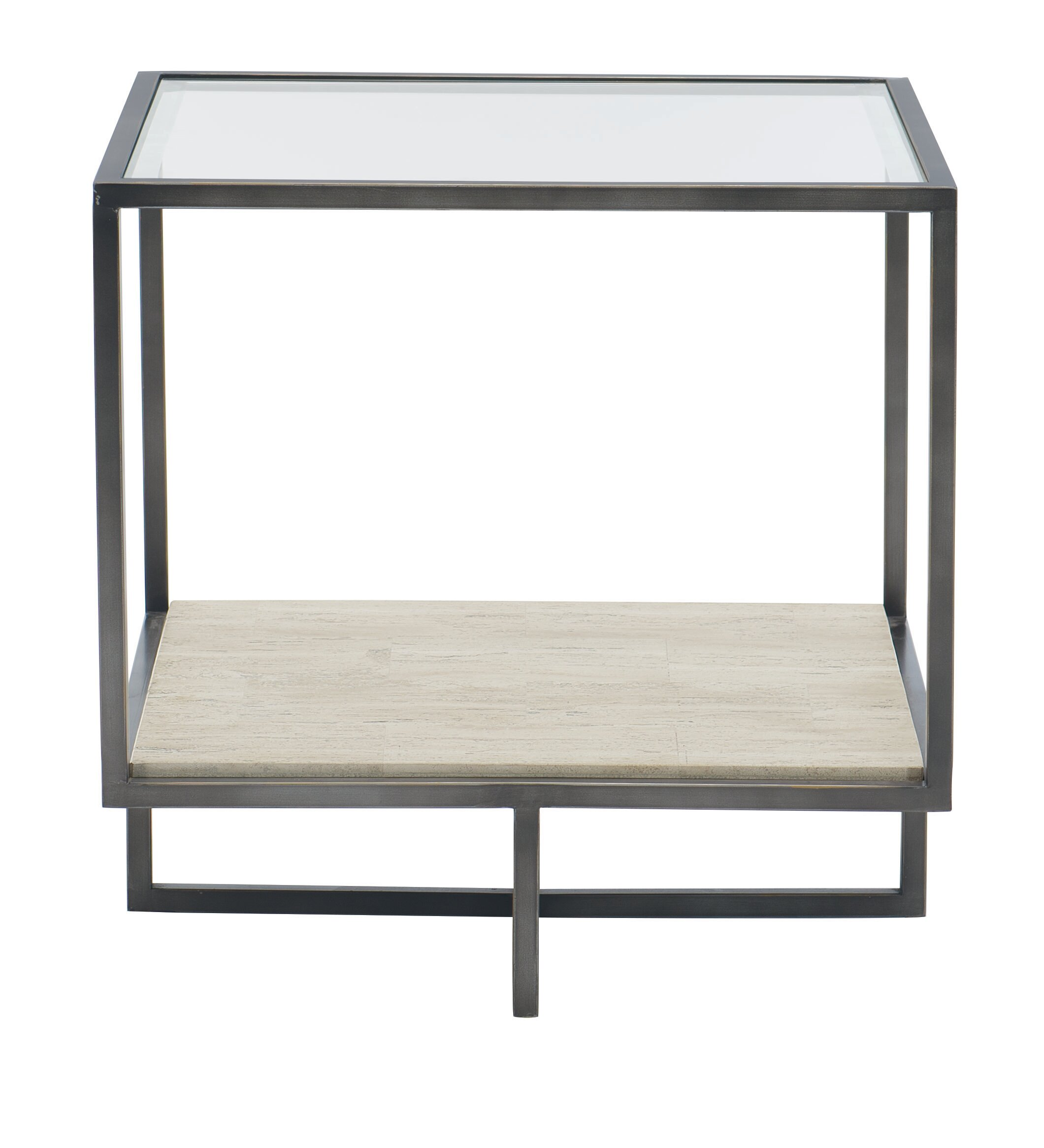 Bernhardt Harlow Glass Top Cross Legs End Table With Storage Reviews Wayfair