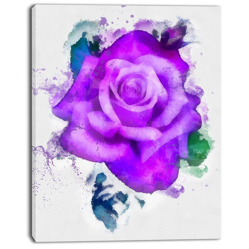 Hand Made Purple Rose Watercolor Painting Print On Wred Canvas