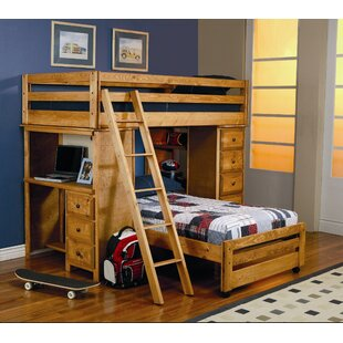 Enchanted Twin Over Twin LShaped Bunk Bed with Bookcase by Wildon Home