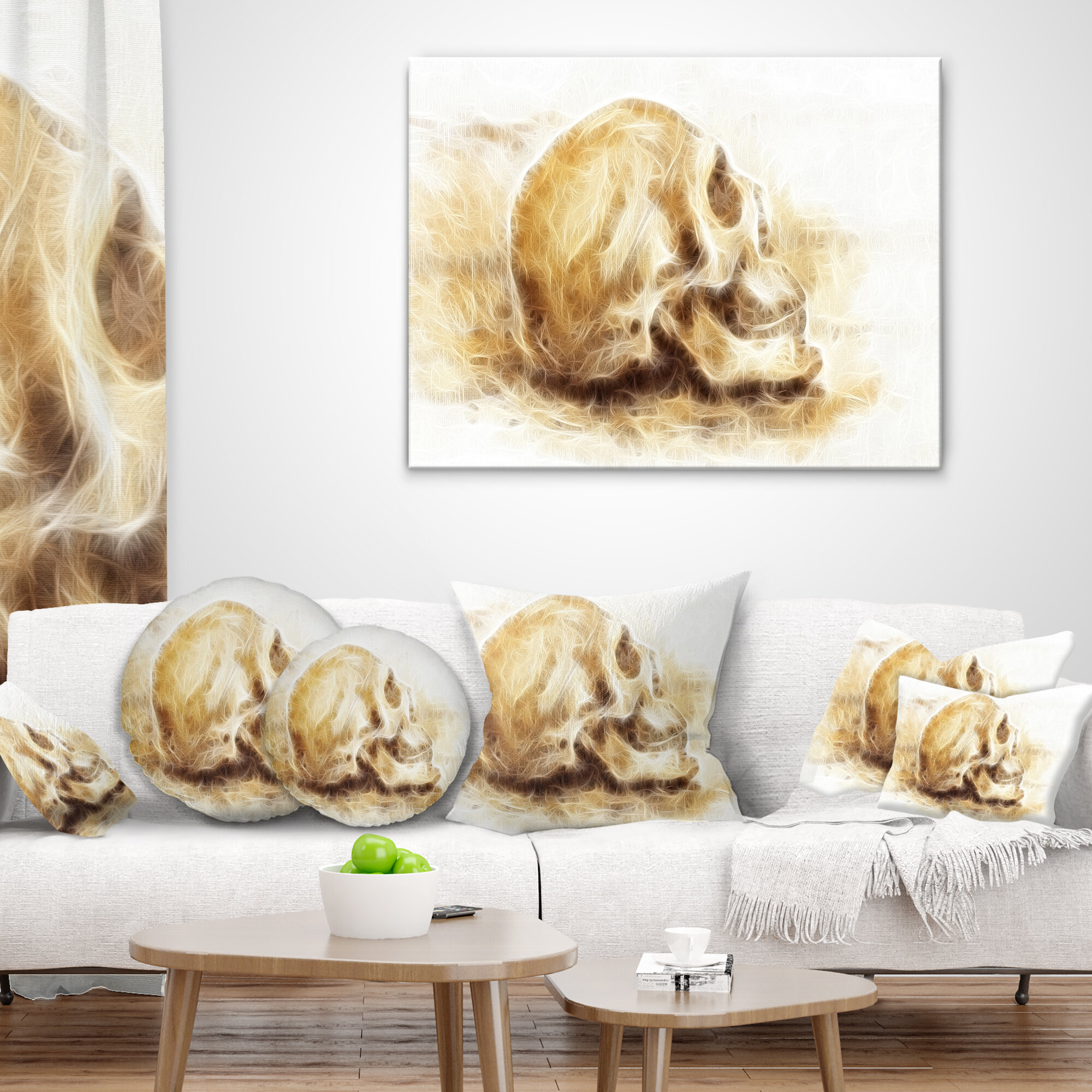 East Urban Home Skull On Paper Fractal Effect Throw Pillow