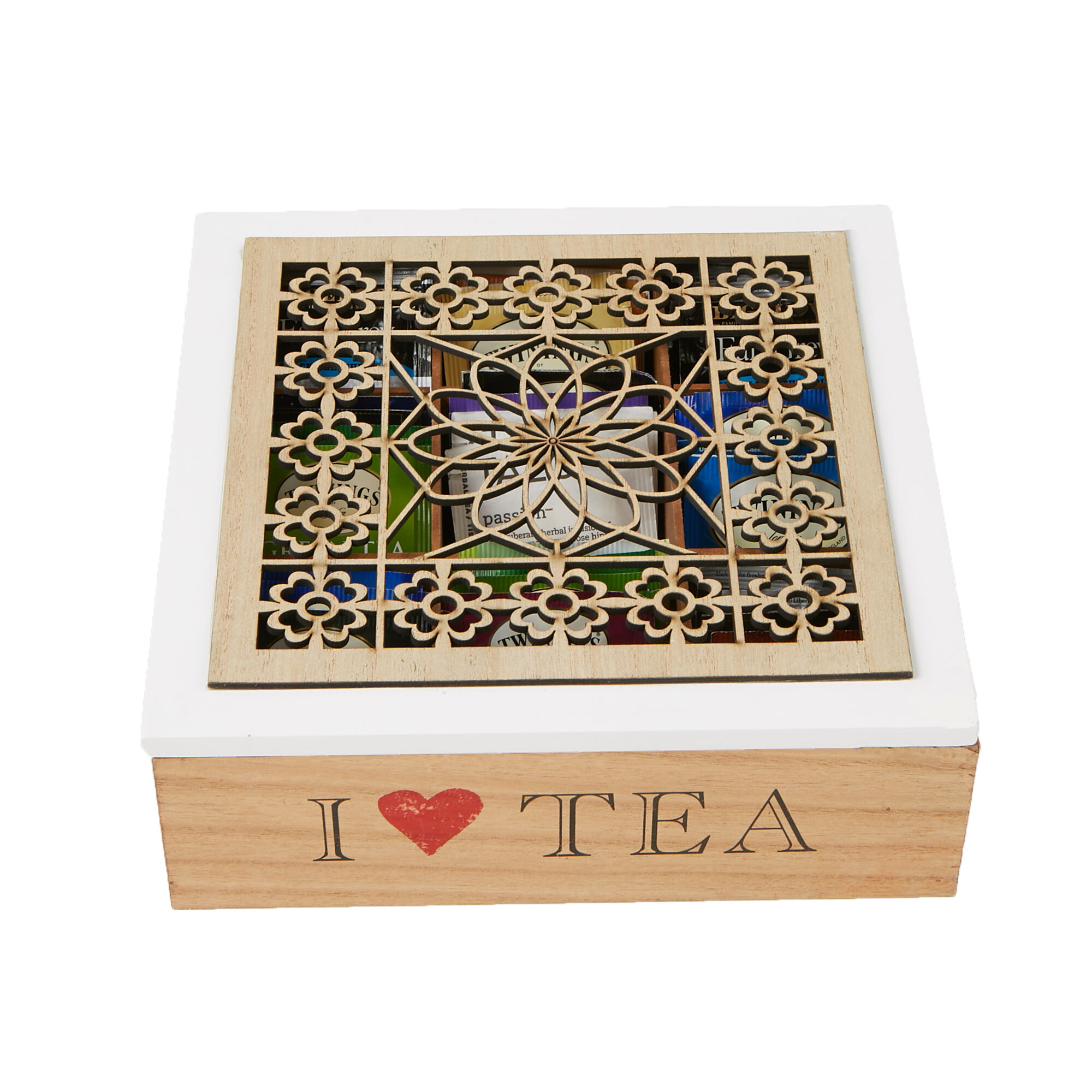 Brown Mind Reader Tea Bag Storage Holder Box with Wood Floral Pattern