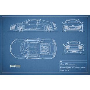 'Audi R8 V10 Coupe' Graphic Art Print on Canvas in Blue By East Urban Home