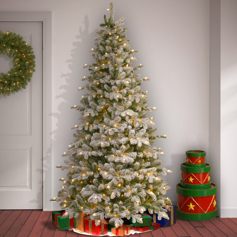snowy everest frosted green fir artificial christmas tree with white clear light with stand - Artificial Christmas Trees