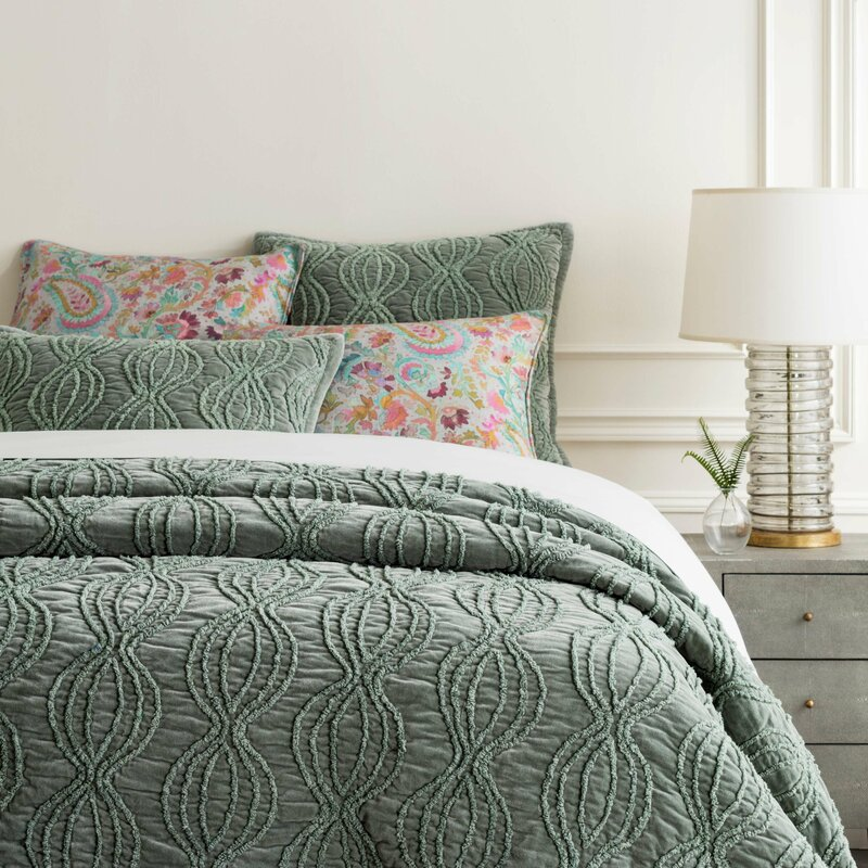 Pine Cone Hill Penelope Mineral Green Cotton Quilt Perigold