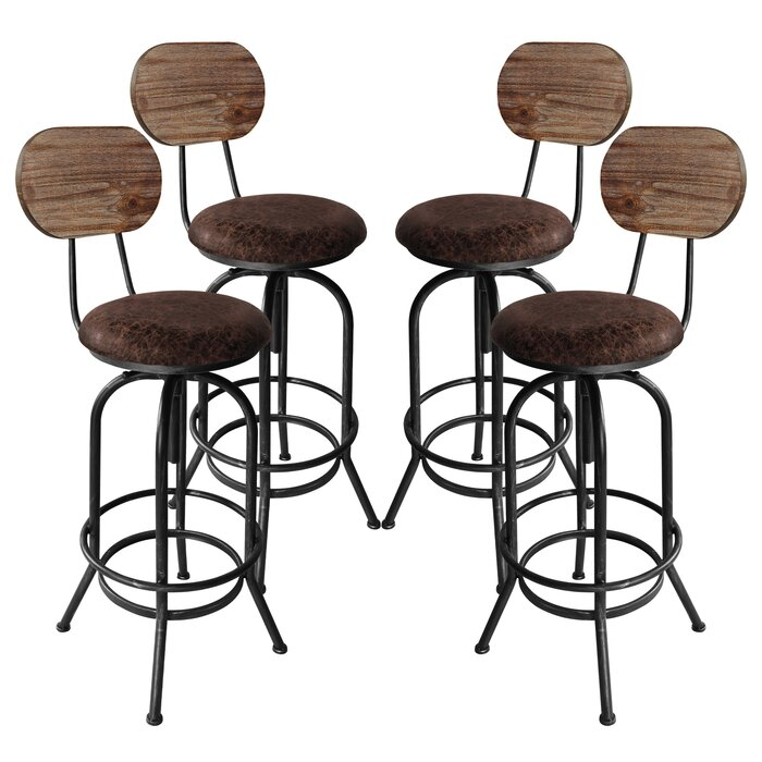 Magnificent Poitras Adjustable Height Swivel Bar Stool Set Of 4 Beatyapartments Chair Design Images Beatyapartmentscom