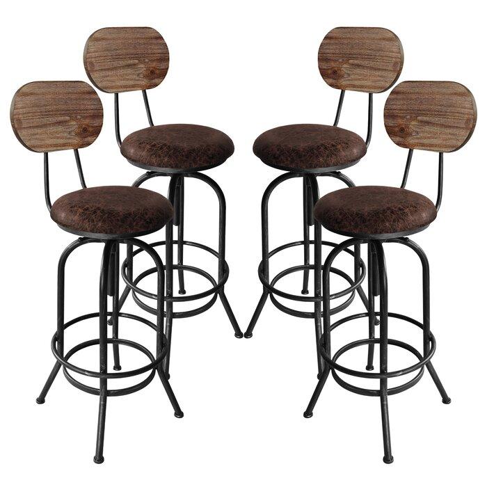 Fabulous Poitras Adjustable Height Swivel Bar Stool Set Of 4 Gamerscity Chair Design For Home Gamerscityorg
